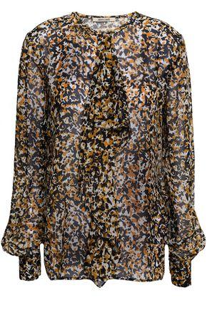 ROBERTO CAVALLI Ruffled printed silk-voile blouse