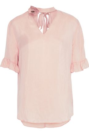 SANDRO Embellished cutout washed-twill top
