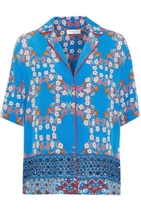 SANDRO Ruffine broderie anglaise-paneled floral-print crepe de chine shirt