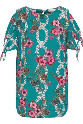 SANDRO Viva cold-shoulder floral-print crepe de chine top