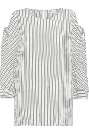SANDRO Manga cutout striped washed-poplin cupro top
