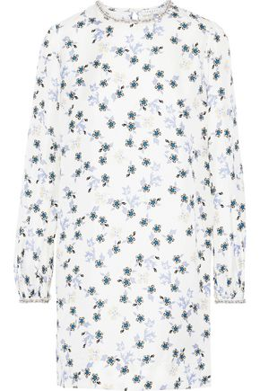 SANDRO Jay embellished floral-print silk-satin twill mini dress