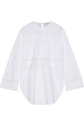 SANDRO Chairman broderie anglaise-trimmed cotton-poplin top