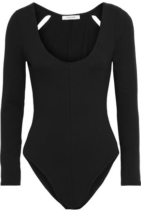 FRAME Cutout stretch-cotton jersey bodysuit