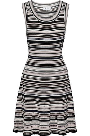 MILLY Striped ribbed-knit mini dress