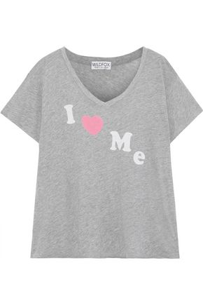 WILDFOX Printed mélange cotton-blend jersey T-shirt