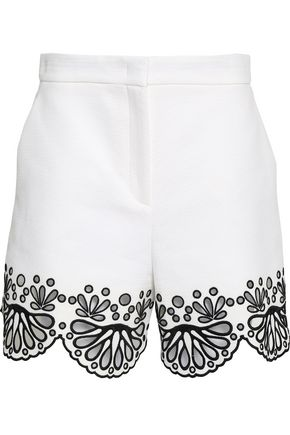 EMILIO PUCCI Broderie anglaise-trimmed cotton-jacquard shorts