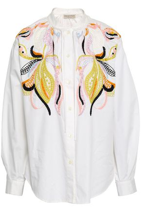 EMILIO PUCCI Embroidered cotton-poplin shirt