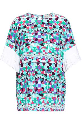 EMILIO PUCCI Pleated printed silk crepe de chine blouse