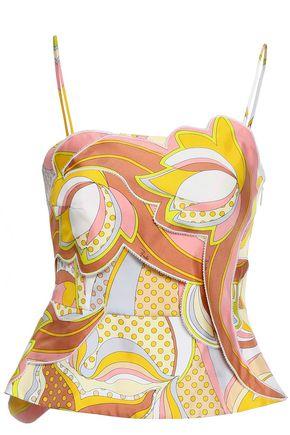 EMILIO PUCCI Paneled printed silk-satin twill peplum top