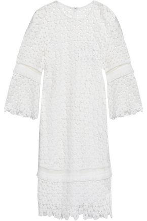 LELA ROSE Fringe-trimmed guipure lace dress