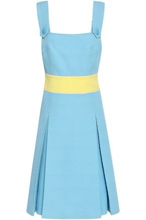 EMILIO PUCCI Pleated cotton, wool and silk-blend matelassé dress