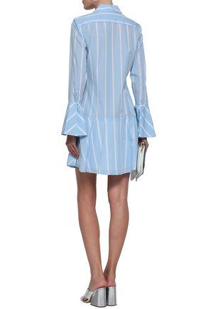 EQUIPMENT Fluted striped cotton-poplin mini shirt dress