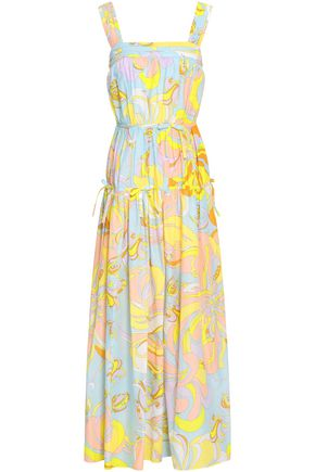EMILIO PUCCI Gathered printed silk-voile maxi dress