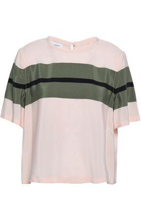 EQUIPMENT Striped silk crepe de chine top