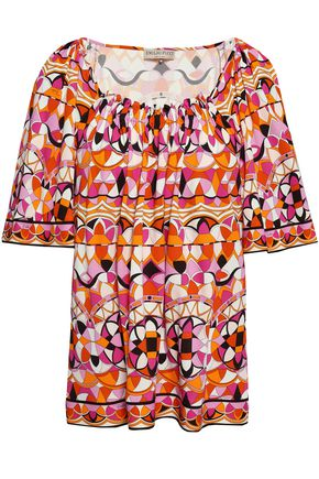 EMILIO PUCCI Gathered printed stretch-jersey top