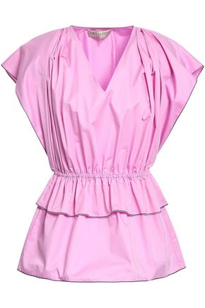 EMILIO PUCCI Gathered cotton-poplin peplum top