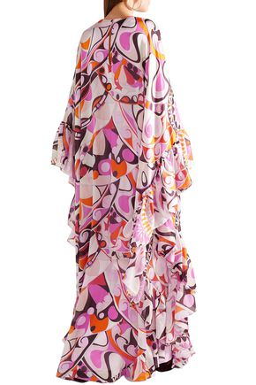 EMILIO PUCCI Ruffled printed silk-georgette maxi dress