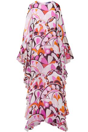 EMILIO PUCCI Ruffled printed silk-georgette maxi dress