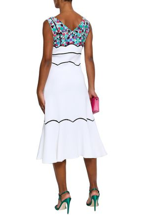 EMILIO PUCCI Printed crepe de chine-paneled fluted crepe midi dress