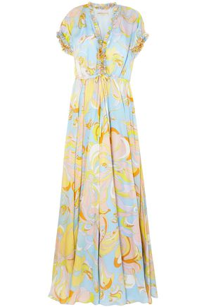 EMILIO PUCCI Aruba ruffle-trimmed printed silk maxi dress