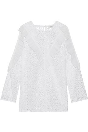 SANDRO Bonnie cold-shoulder chiffon-trimmed broderie anglaise cotton top