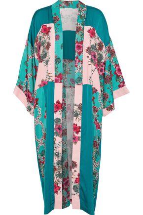 SANDRO Ting patchwork floral-print crepe de chine kimono