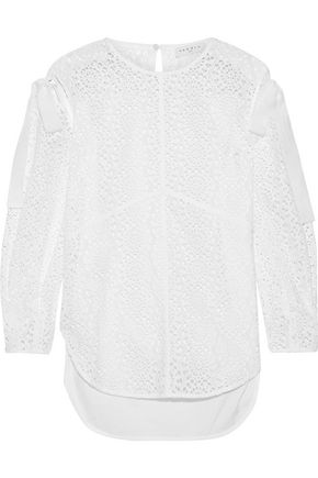 SANDRO Ernesta cutout poplin-paneled broderie anglaise cotton top
