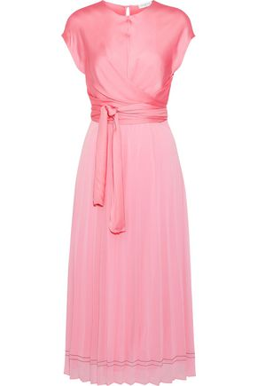 SANDRO Janyce wrap-effect satin and chiffon midi dress