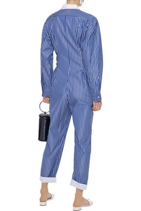 SANDRO Evora cropped tie-front striped cotton-chambray jumpsuit