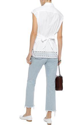 SANDRO Ryoko broderie anglaise-trimmed cotton-poplin shirt
