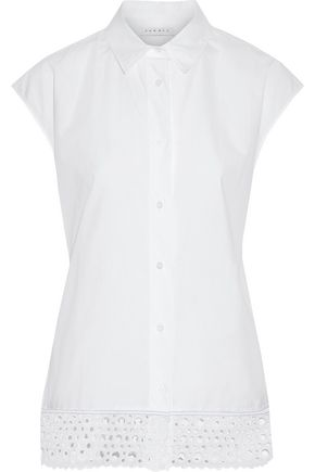 SANDRO Ryoko broderie anglaise-trimmed cotton-poplin shirt