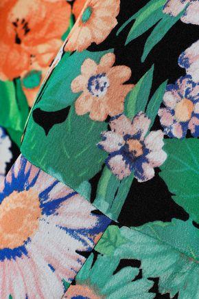 SANDRO Eudelin belted floral-print silk crepe de chine playsuit