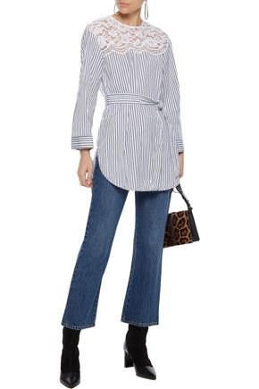 SANDRO Dorothee corded lace-paneled striped cotton-poplin top