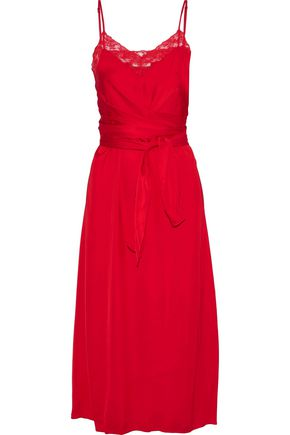 SANDRO Ismere tie-front lace-trimmed satin midi dress