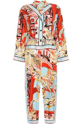 EMILIO PUCCI Belted perforated printed silk-twill jumpsuit
