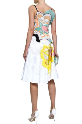 EMILIO PUCCI Printed crepe de chine-appliquéd perforated cotton-blend twill dress