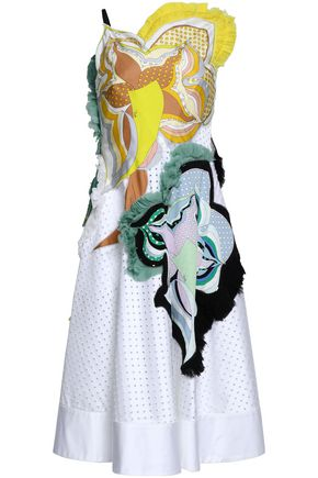 EMILIO PUCCI Printed crepe de chine-appliquéd perforated cotton-blend twill dress
