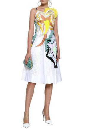 7e26ce0d8e40 EMILIO PUCCI Printed crepe de chine-appliquéd perforated cotton-blend twill  dress