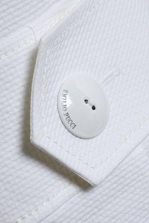 EMILIO PUCCI Button-detailed cotton and silk-blend piqué mini dress