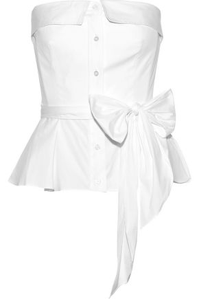 MILLY Strapless belted cotton-blend peplum top