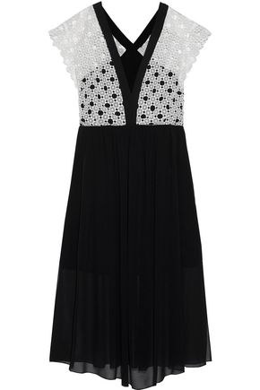 SANDRO Cinderella crochet-paneled chiffon midi dress
