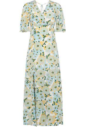 SANDRO Rosana wrap-effect floral-print washed-silk midi dress
