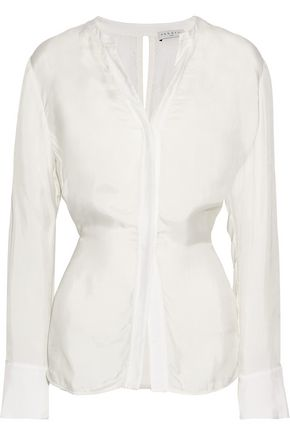 SANDRO Britany tie-back satin-twill shirt