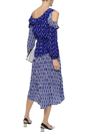 SANDRO Kemila cold-shoulder printed crepe de chine midi dress