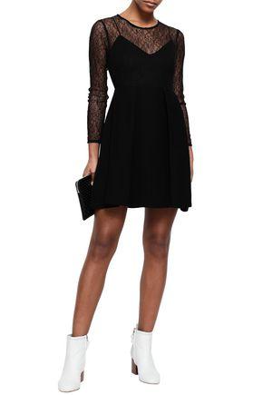 Sandro Woman Flared Pleated Lace And Plissé-Woven Mini Dress Black