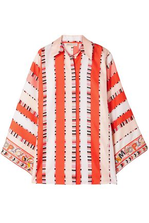 EMILIO PUCCI Fluted printed silk-twill shirt