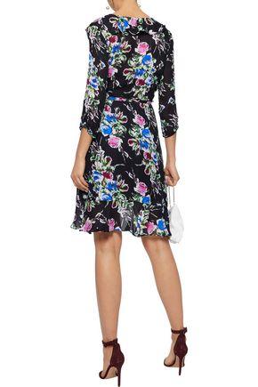 MILLY Audrey floral-print silk crepe de chine mini wrap dress