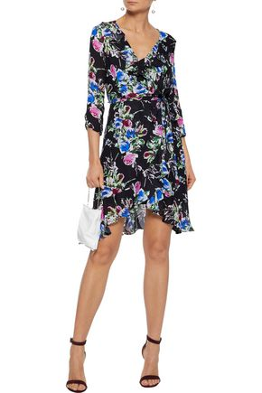 e2321c9f119 MILLY Audrey floral-print silk crepe de chine mini wrap dress