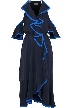 MILLY Bryce cold-shoulder ruffled stretch-silk midi dress
